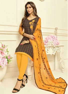 Brown and Mustard Cotton Silk Trendy Churidar Suit