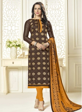 Brown and Mustard Lace Work Jacquard Silk Trendy Pakistani Salwar Suit