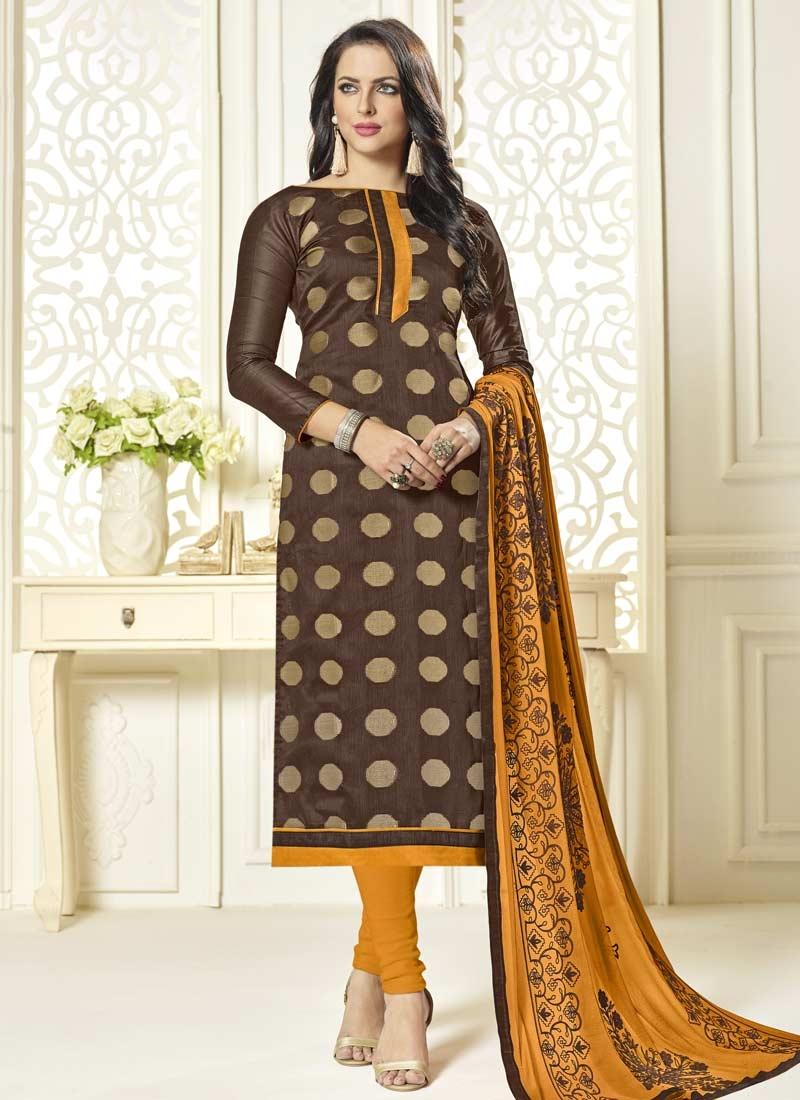 7baf079a1b Brown and Mustard Lace Work Jacquard Silk Trendy Pakistani Salwar Suit