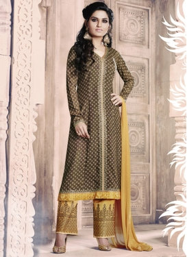 Brown and Mustard Lace Work Pant Style Straight Salwar Suit