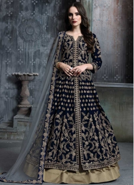 Brown and Navy Blue Designer Kameez Style Lehenga For Ceremonial