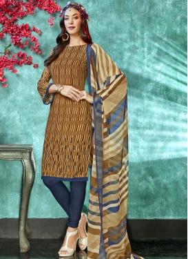 Brown and Navy Blue Digital Print Work Crepe Silk Trendy Churidar Salwar Kameez
