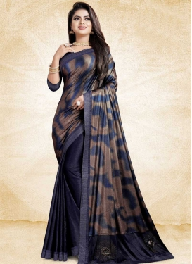 Brown and Navy Blue Digital Print Work Half N Half Designer Saree