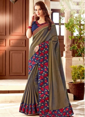 Brown and Navy Blue Embroidered Work Trendy Classic Saree