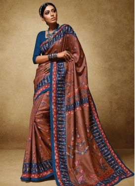 Brown and Navy Blue Lace Work Trendy Classic Saree