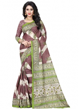 Brown and Off White Designer Contemporary Saree For Ceremonial