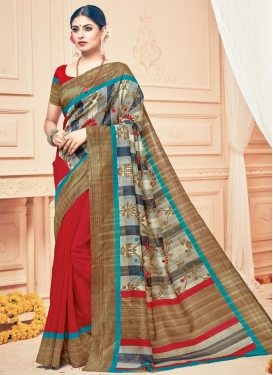 Brown and Off White Print Work Half N Half Trendy Saree