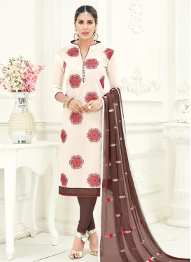 Brown and Off White Trendy Churidar Salwar Suit
