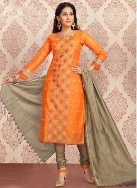 Brown and Orange Chanderi Silk Churidar Salwar Kameez For Ceremonial