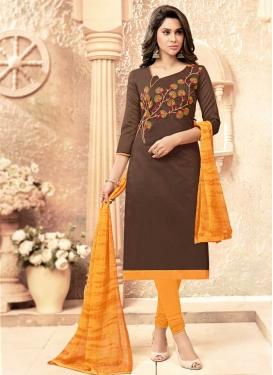 Brown and Orange Cotton Churidar Salwar Kameez