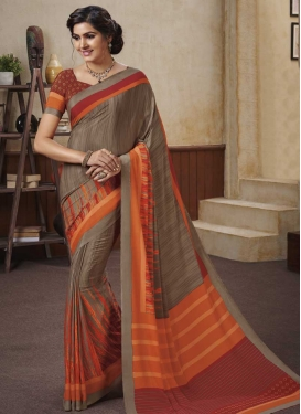 Brown and Orange Crepe Silk Contemporary Saree