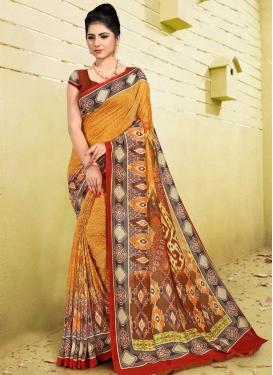 Brown and Orange Digital Print Work Designer Traditional Saree