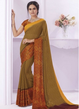 Brown and Orange Digital Print Work Trendy Classic Saree