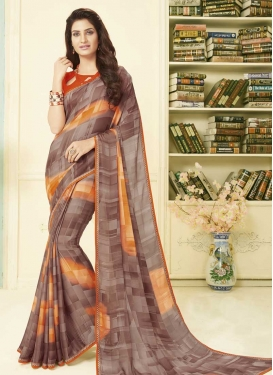 Brown and Orange Embroidered Work Traditional Designer Saree