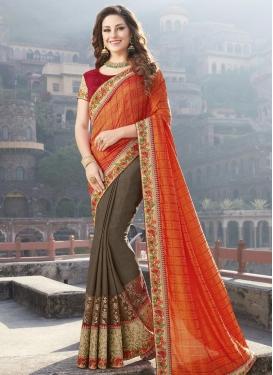 Brown and Orange Half N Half Trendy Saree