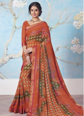 Brown and Orange Lace Work Contemporary Saree