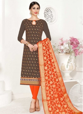 Brown and Orange Lace Work Trendy Straight Salwar Suit