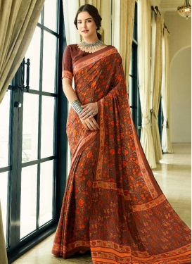 Brown and Orange Traditional Designer Saree
