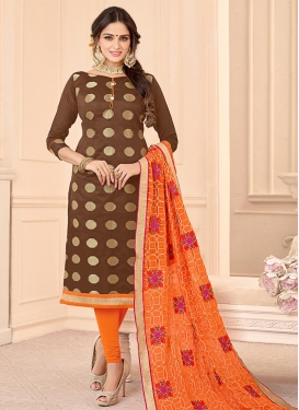 Brown and Orange Trendy Churidar Salwar Suit