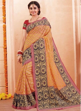 Brown and Orange Trendy Saree