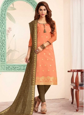 Brown and Peach Churidar Salwar Kameez