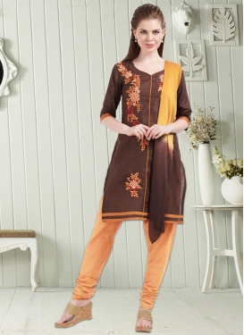 Brown and Peach Cotton Punjabi Churidar Suit