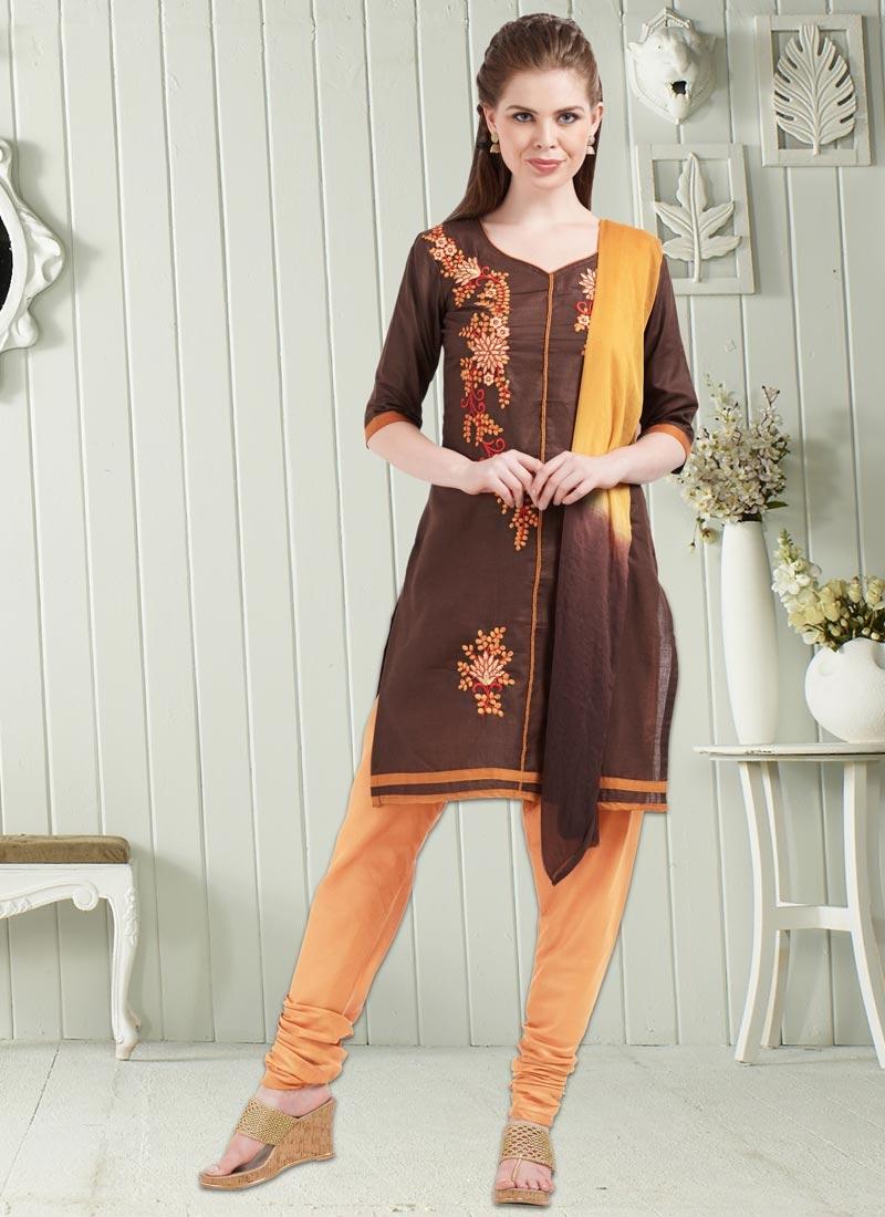 Brown and Peach Cotton Punjabi Churidar Suit