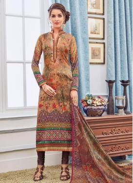 Brown and Peach Digital Print Work Pakistani Suit