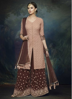 Brown and Peach Palazzo Straight Salwar Kameez
