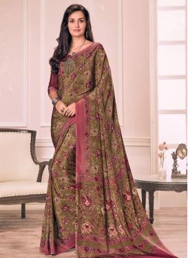Brown and Pink Crepe Silk Trendy Saree