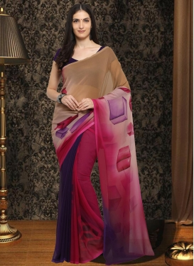 Brown and Purple Contemporary Style Saree