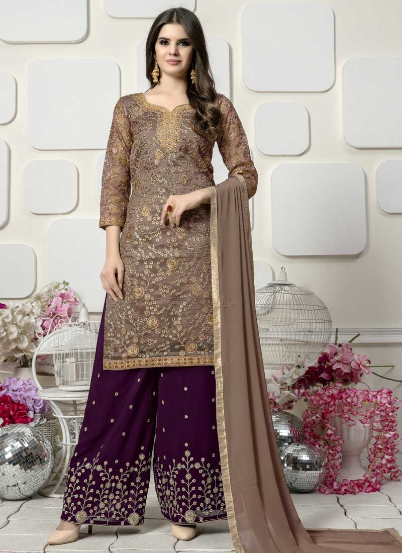 Brown and Purple Trendy Palazzo Salwar Kameez For Festival