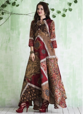 Brown and Red Art Silk Readymade Long Length Gown For Festival
