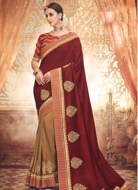 Brown and Red Booti Work Half N Half Trendy Saree