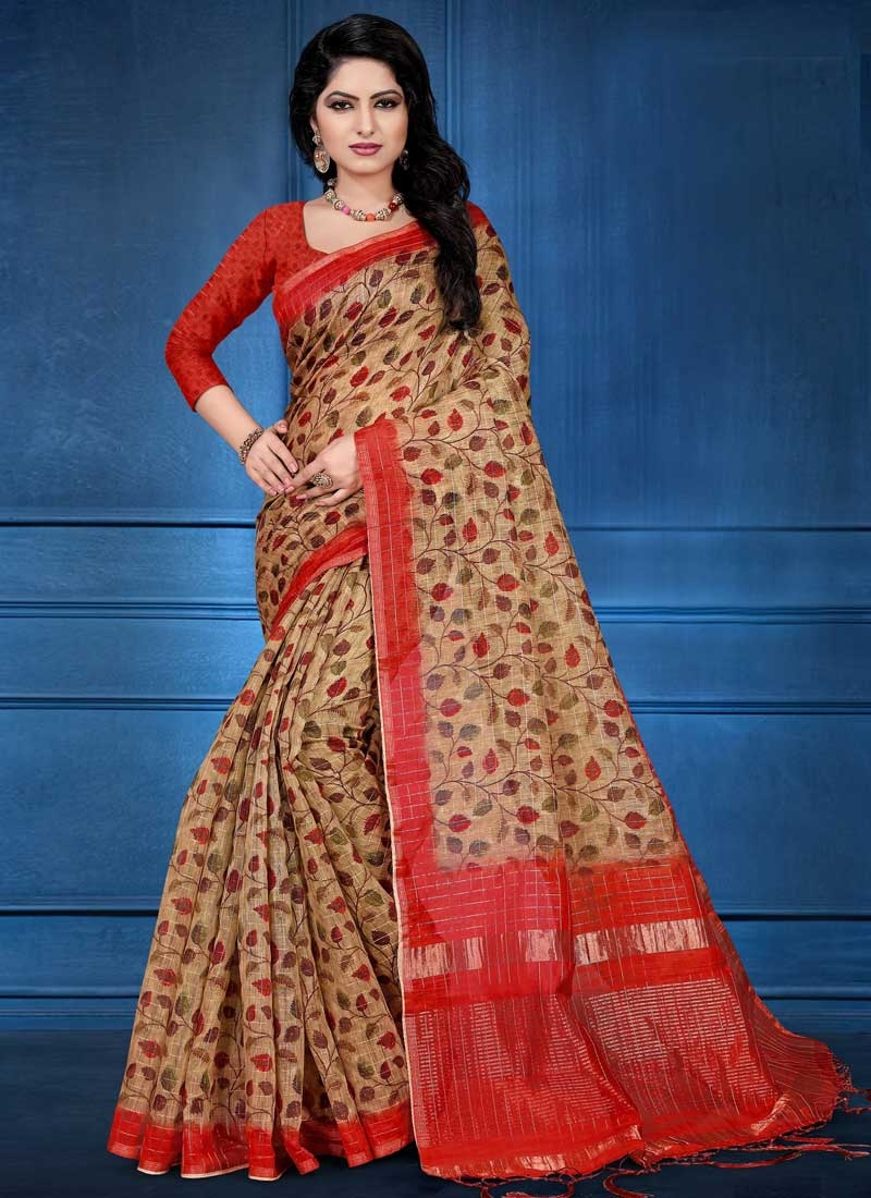 Brown and Red Digital Print Work Classic Saree