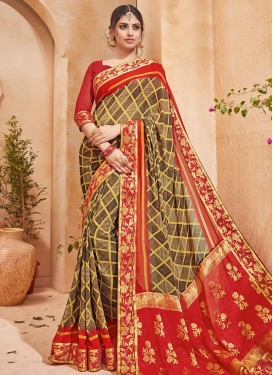 Brown and Red Faux Georgette Contemporary Saree