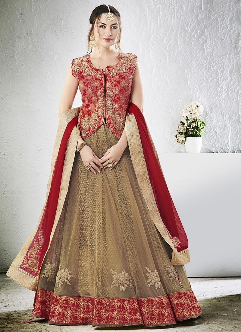 Brown and Red Net Designer A Line Lehenga Choli