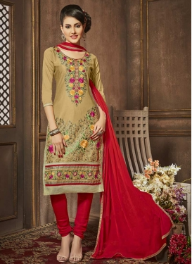 Brown and Red Trendy Churidar Salwar Kameez