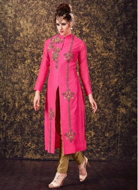 Brown and Rose Pink Beads Work Readymade Designer Suit