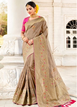 Brown and Rose Pink Beads Work Traditional Designer Saree