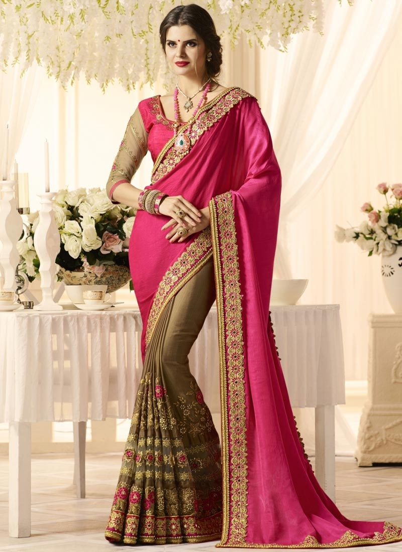 Brown and Rose Pink Embroidered Work Half N Half Saree