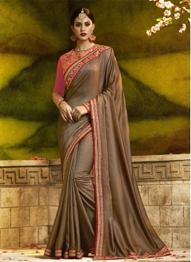 Brown and Rose Pink Satin Silk Designer Contemporary Style Saree