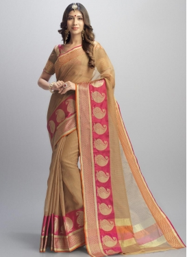 Brown and Rose Pink Thread Work Trendy Classic Saree