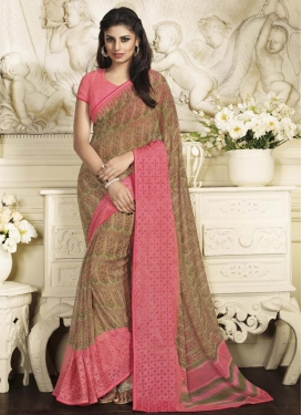 Brown and Salmon Contemporary Saree