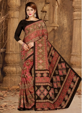 Brown and Salmon Crepe Silk Contemporary Style Saree