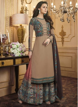 Brown and Salmon Digital Print Work Palazzo Straight Salwar Suit