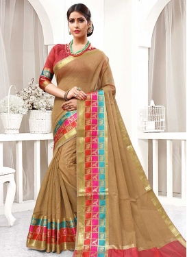 Brown and Salmon Thread Work Classic Saree