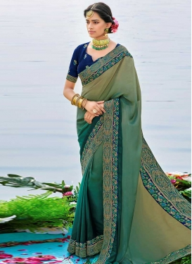 Brown and Sea Green Embroidered Work Traditional Designer Saree