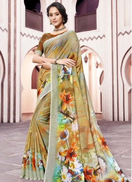 Brown and Sea Green Trendy Classic Saree For Ceremonial