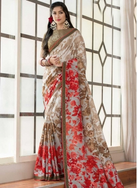 Brown and Silver Color Traditional Saree For Ceremonial